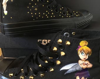 Hand painted sneakers, customized Tinkerbell