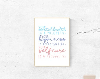 Mental Health and self care A4 Poster|