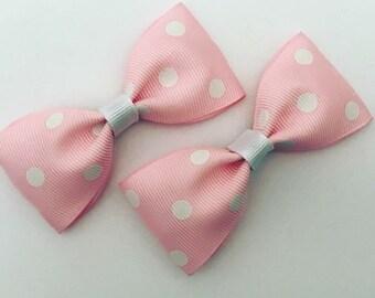 Set of 2 Pink Polkadot Clips!