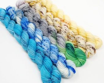 Beach Comber Set - 5x20g - DK / Double Knit - Superwash Merino / Nylon - Hand Dyed Yarn