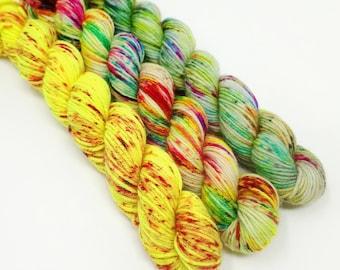 Neon Rainbow & Speckles Set - 3 x 20g - 4 Ply / Sock - Superwash Merino / Nylon - Hand Dyed Yarn