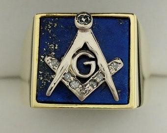 14ct Gold, Lapis & Diamond Gents Masonic Ring