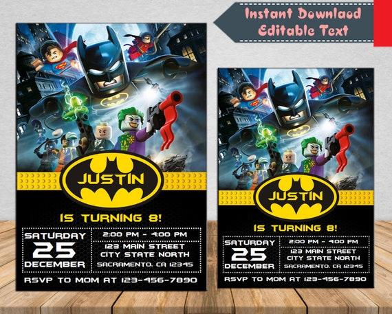 Instant Downloadlego Batman Party Invite Lego Batman Etsy