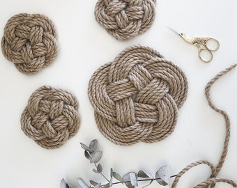 Twine Rope Trivet & Coaster Set | Rustic | Rope Kitchen Decor | Handmade Gift
