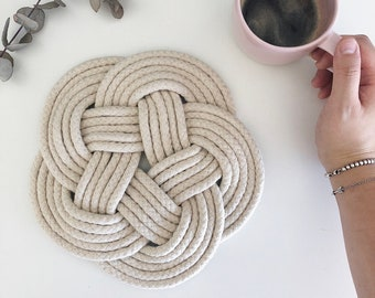Cotton Rope Trivet | Tea Pot Trivet | Coastal | Nautical Rope Kitchen Decor | Handmade Gift