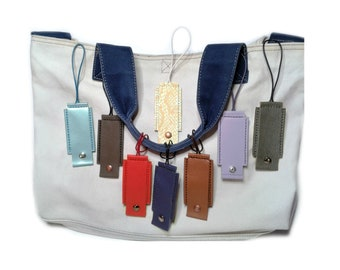 Leather luggage tag - wearing 100% 8 leather luggage tags to choose colors