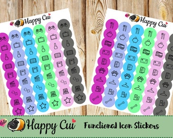 Functional icon stickers // Neon Nights Colorway