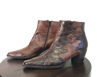 Vintage Soft Leather and Faux Alligator Ankle Boots   Made in Spain Size 37, US 6.5   Boho Ankle Boots