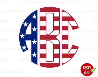 American Flag Circle Monogram Font svg, 4th of July Font SVG, Files for Silhouette Cameo or Cricut, Commercial & Personal Use.