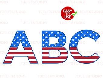 American Flag Font Svg , 4th of July Font SVG, Files for Silhouette Cameo or Cricut, Commercial & Personal Use.