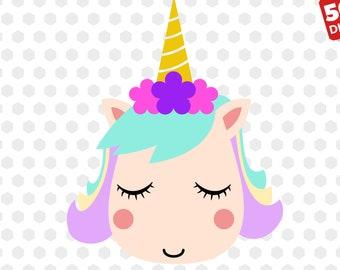 Unicorn svg Unicorn Head svg Unicorn Face Silhouette Svg | Etsy