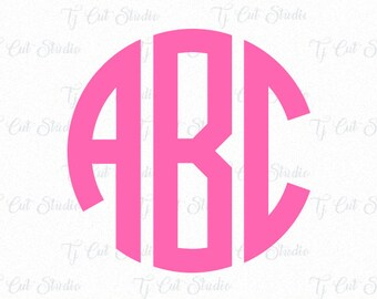 Circle Monogram Svg, Monogram Letters, letter monogram svg, Circle Monogram Font, Cut Files For Silhouette,Cricut.svg dxf png jpg ai