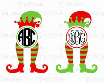 Elf Svg Christmas, Elf Monogram Svg, Elf Svg, Elf Feets Svg Elf Legs Svg ,Svg Files for Silhouette Cameo or Cricut Commercial & Personal Use