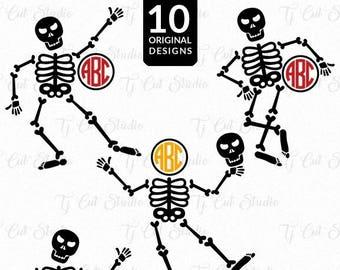 Skeleton Monogram Svg, Skeleton Svg, Halloween Svg for Silhouette Cameo or Cricut Commercial & Personal Use.