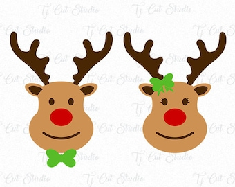 Rudolph svg, deer svg, Red Nose Svg, Reindeer svg, boy, girl, Svg Files for Silhouette Cameo or Cricut Commercial & Personal Use