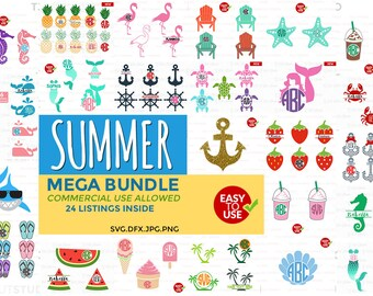 Summer Bundle svg, svg bundle, Summer svg, Files for Silhouette Cameo or Cricut, Commercial & Personal Use.