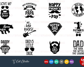 Father's Day SVG Bundle, fathers day svg, Files for Silhouette Cameo or Cricut, Commercial & Personal Use.