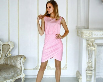 2db4ce6dc33 Pink melange cotton sleeveless dress for pregnant women and nursing ( breastfeeding) moms.