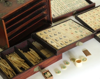Mahjong Set, Bone + Bamboo Tiles, Early 20th century Chinese In Brass Bound Wooden Case, Tokens