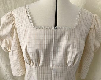 Size 12-14 ready to ship Regency style cotton day dress , hand-made, drawstring. Ideal for Jane Austen festival, Bath.