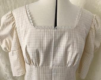 Bespoke Custom made Regency style cotton day dress UK size 8-10, 12-14, 16-18 hand-made, drawstring. Ideal for Jane Austen festival, Bath.