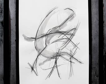 """Original drawing """"Naked in motion"""" / nude art / abstract / Woody"""