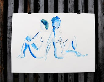 "Original Act of drawing ""Two seated"" / nude art / watercolor and pencil"