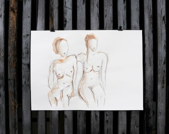 "Original drawing of Act of ""Two seated II"" / nude art / watercolor, chalk and pencil"