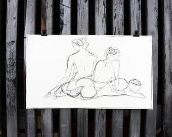 """Original nude art, nude drawing """"Rest"""" / coal"""