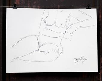 "Original Act of drawing ""Seated woman"" nude art / graphite"