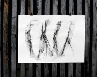 "Original nude art, nude drawing ""Movement"" / woody"