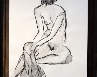 "Original drawing of Act of ""Sitting with cloth"" / nude art / Woody"
