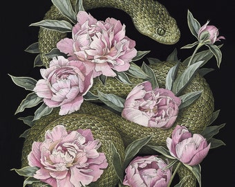 Green Snake and Peonies  Giclee Print