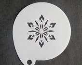 Stencil for face painting and airbrush tattoo - flower snowflake (F01005)
