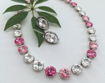 Pink Crystal Necklace,Pink Swarovski Crystal Necklace.