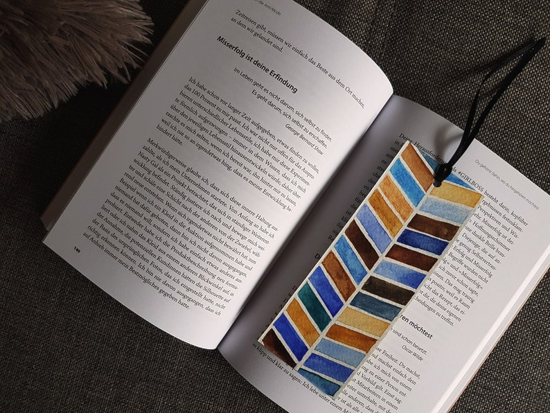 Bookmark/watercolour/hand painted/6 x 16 cm/geometric pattern/gift for  you/books/herringbone pattern