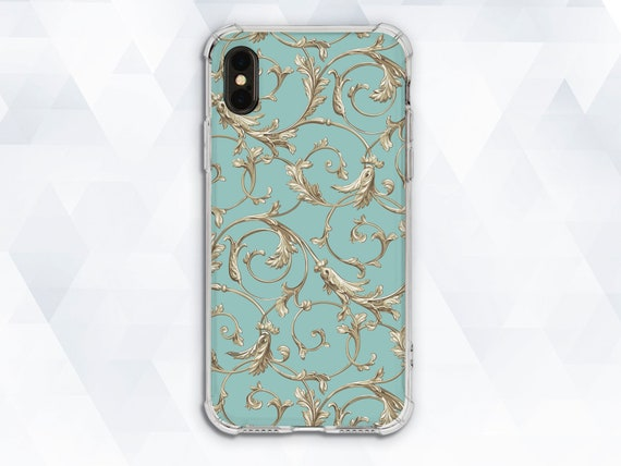 Victorian Iphone Case Vintage Girl Iphone Xr Xs 8 7 Aesthetic Cute Case For Samsung Galaxy S9 Pixel 2 Flower Floral Girly Luxury Turquoise