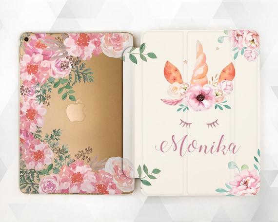 half off 61669 ffe8d Unicorn iPad case Personalized Girl iPad 9.7 6th gen 2018 Name Cute iPad  Pro 11 10.5 12.9 Air 3 2 Mini 4 Kids Floral Custom Kawaii Flowers