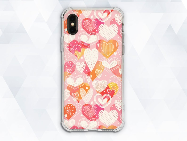 buy online 0afb5 32703 Hearts iPhone case Girl Cute iPhone XR X Xs Pink Kawaii iPhone 8 7 case for  Samsung Galaxy s9 Note 9 Pixel 2 For Girls Girly Protective Love