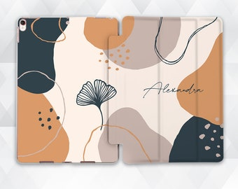 Name iPad case Cute Custom iPad 10.2 9.7 Pro 11 10.5 12.9 Air 4 Mini 5 Girl Personalized Abstract Art Aesthetic Modern Neutral Beige cover