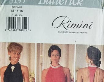 Butterick Rimini 3195 Woman Evening Prom Dress (12-14-16) Uncut 1993