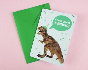 Dinosaur Card / T-rex card / Blank card for him / Card for him / Funny Birthday card / Trex / Dinosaur Pun / Dinosaur / Card for boyfriend.