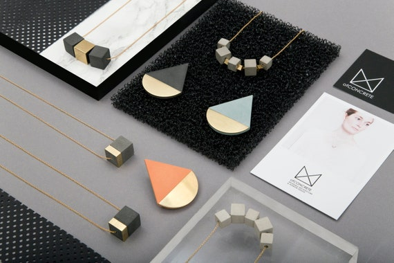 Triangular earrings Contemporary jewelry Architect for gift Concrete earrings Geometric earrings Modern cement jewelry
