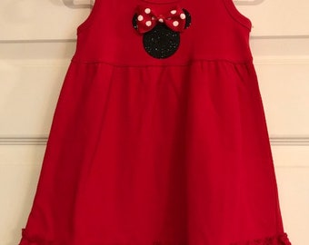 Red knit ruffled Minnie Mouse dress - you'll be ready for Disney!