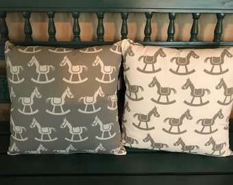 Gray and white nursery pillows