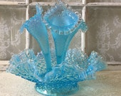 Fenton Large Epergne Blue Opalescent Silver Crest Diamond Lace Hobnail Ruffle Edge Vase 1940s Art Glass Collectable Chic Shabby Cottage