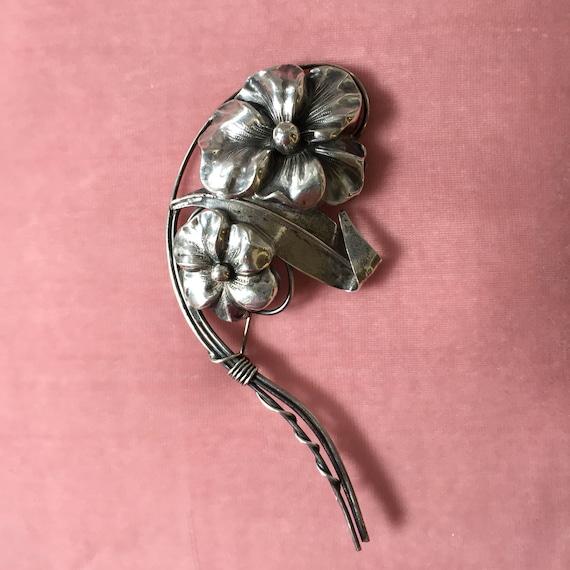 Very Large Sterling Silver Brooch Pansies 24.5 Gra