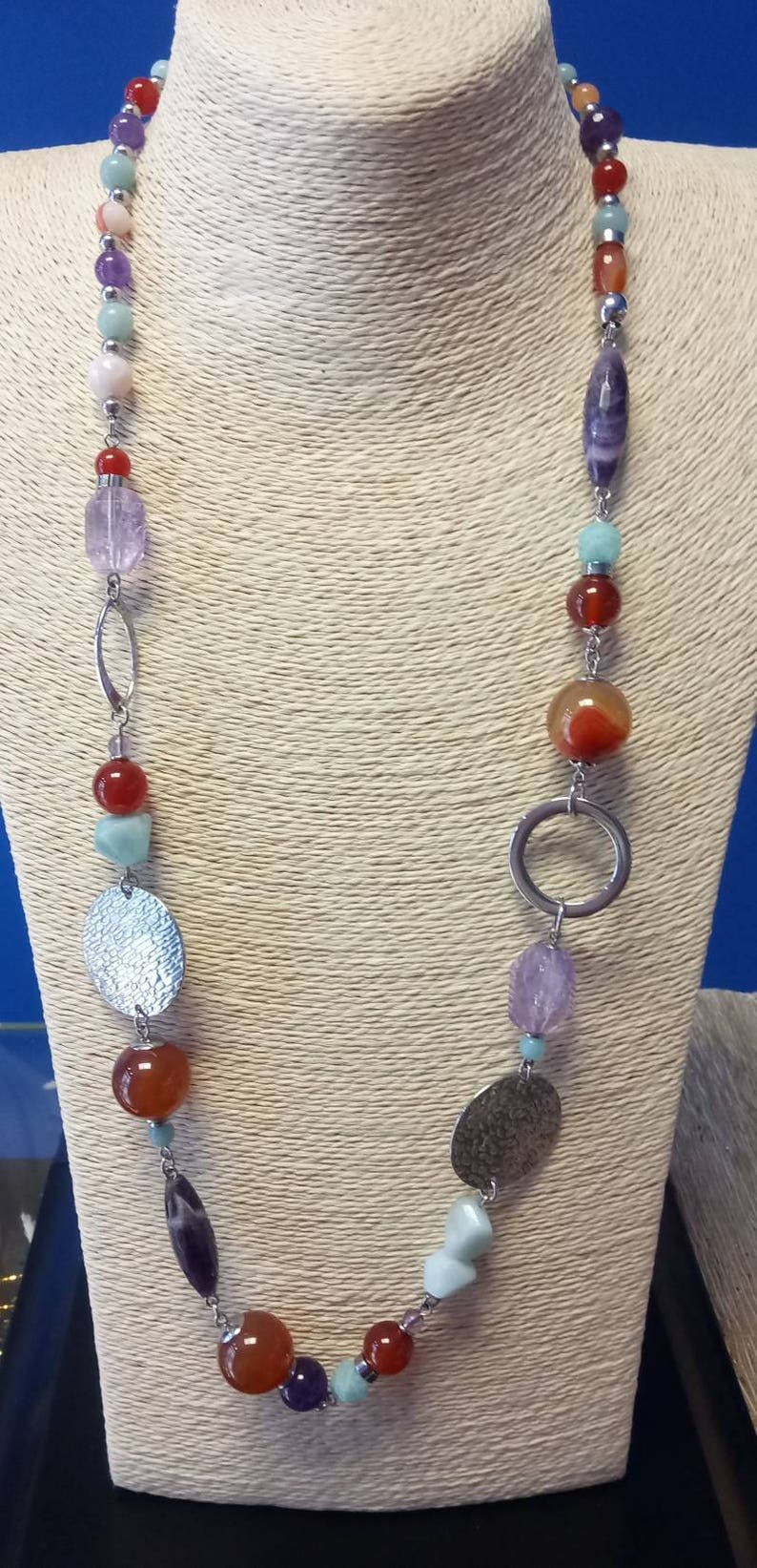 Natural Stone necklace and steel components carnelian, amethyst and Amazonian