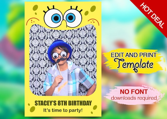 Fetes Occasions Speciales Personnalise Spongebob Photo Carte Anniversaire Avec Option Carte Standard Maison Whpropiedades Cl
