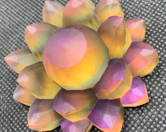 Purple Sunset Resin Color Shift Lotus Flower | Paperweight | Desk ornament | Shelf Decoration | Pink |Green | Orange | Yellow | Iridescent |